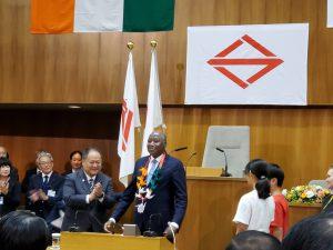 コートジボワール首相 横浜市会本会議場演説